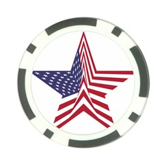 A Star With An American Flag Pattern Poker Chip Card Guard (10 Pack)