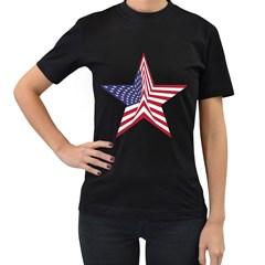 A Star With An American Flag Pattern Women s T Shirt (black)