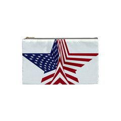 A Star With An American Flag Pattern Cosmetic Bag (small)