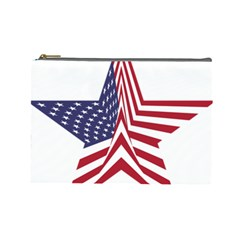 A Star With An American Flag Pattern Cosmetic Bag (large)
