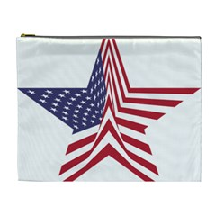A Star With An American Flag Pattern Cosmetic Bag (XL)
