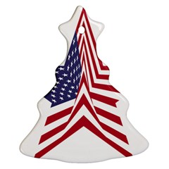 A Star With An American Flag Pattern Christmas Tree Ornament (Two Sides)