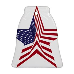A Star With An American Flag Pattern Bell Ornament (two Sides)
