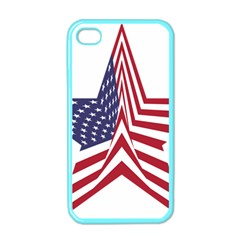 A Star With An American Flag Pattern Apple Iphone 4 Case (color)