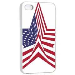 A Star With An American Flag Pattern Apple iPhone 4/4s Seamless Case (White)