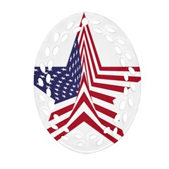 A Star With An American Flag Pattern Ornament (oval Filigree)