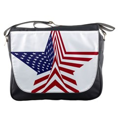 A Star With An American Flag Pattern Messenger Bags