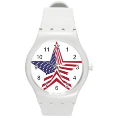 A Star With An American Flag Pattern Round Plastic Sport Watch (m)