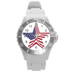 A Star With An American Flag Pattern Round Plastic Sport Watch (l)