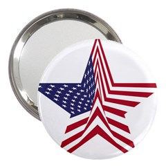 A Star With An American Flag Pattern 3  Handbag Mirrors