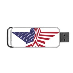 A Star With An American Flag Pattern Portable Usb Flash (two Sides)