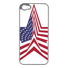 A Star With An American Flag Pattern Apple Iphone 5 Case (silver)