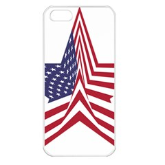 A Star With An American Flag Pattern Apple Iphone 5 Seamless Case (white)