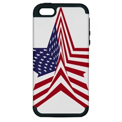A Star With An American Flag Pattern Apple Iphone 5 Hardshell Case (pc+silicone)