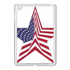 A Star With An American Flag Pattern Apple iPad Mini Case (White)