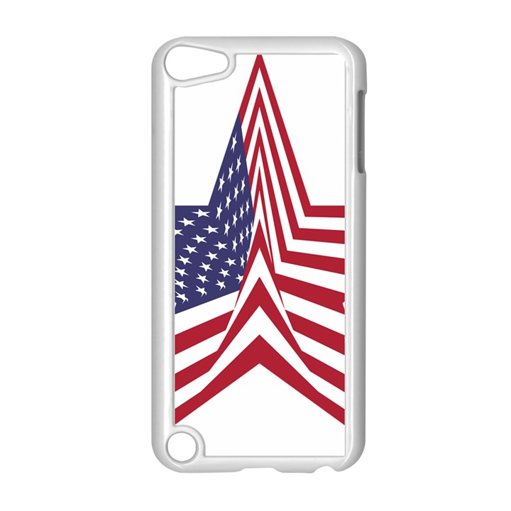 A Star With An American Flag Pattern Apple iPod Touch 5 Case (White)