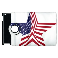 A Star With An American Flag Pattern Apple Ipad 2 Flip 360 Case