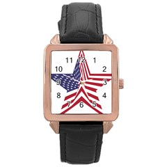 A Star With An American Flag Pattern Rose Gold Leather Watch
