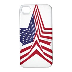 A Star With An American Flag Pattern Apple iPhone 4/4S Hardshell Case with Stand