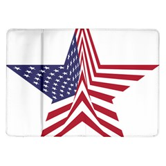 A Star With An American Flag Pattern Samsung Galaxy Tab 10 1  P7500 Flip Case