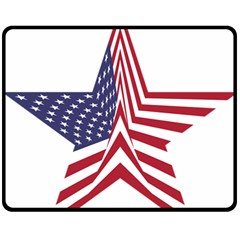 A Star With An American Flag Pattern Double Sided Fleece Blanket (medium)