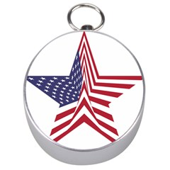A Star With An American Flag Pattern Silver Compasses