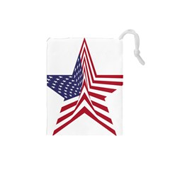 A Star With An American Flag Pattern Drawstring Pouches (small)