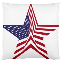 A Star With An American Flag Pattern Large Flano Cushion Case (two Sides)