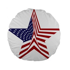A Star With An American Flag Pattern Standard 15  Premium Flano Round Cushions