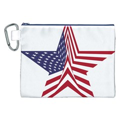 A Star With An American Flag Pattern Canvas Cosmetic Bag (XXL)