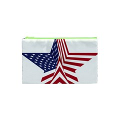 A Star With An American Flag Pattern Cosmetic Bag (XS)
