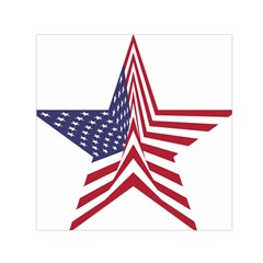 A Star With An American Flag Pattern Small Satin Scarf (square)