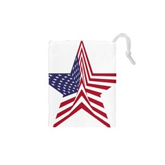 A Star With An American Flag Pattern Drawstring Pouches (XS)