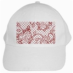 Transparent Decorative Lace With Roses White Cap