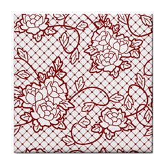 Transparent Decorative Lace With Roses Tile Coasters