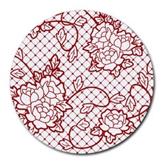 Transparent Decorative Lace With Roses Round Mousepads