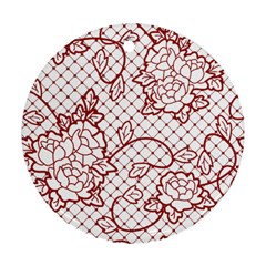 Transparent Decorative Lace With Roses Ornament (Round)