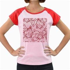 Transparent Decorative Lace With Roses Women s Cap Sleeve T Shirt
