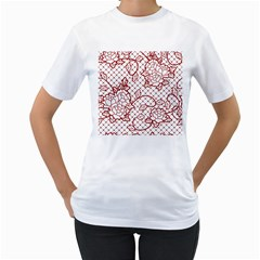 Transparent Decorative Lace With Roses Women s T Shirt (white) (two Sided)