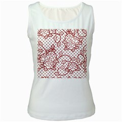 Transparent Decorative Lace With Roses Women s White Tank Top