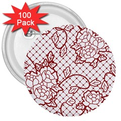 Transparent Decorative Lace With Roses 3  Buttons (100 pack)