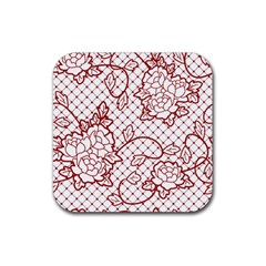 Transparent Decorative Lace With Roses Rubber Coaster (Square)