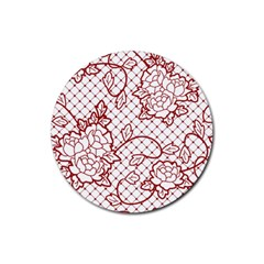 Transparent Decorative Lace With Roses Rubber Round Coaster (4 Pack)