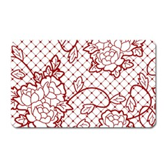 Transparent Decorative Lace With Roses Magnet (Rectangular)