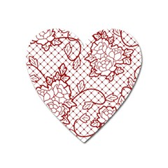Transparent Decorative Lace With Roses Heart Magnet