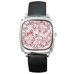 Transparent Decorative Lace With Roses Square Metal Watch