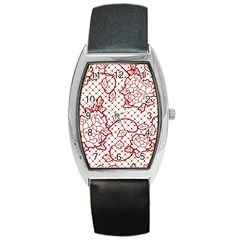 Transparent Decorative Lace With Roses Barrel Style Metal Watch