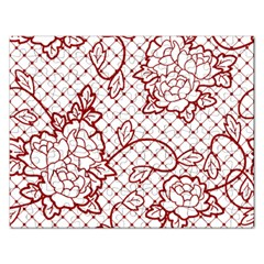 Transparent Decorative Lace With Roses Rectangular Jigsaw Puzzl