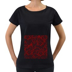 Transparent Decorative Lace With Roses Women s Loose Fit T Shirt (black)