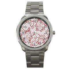 Transparent Decorative Lace With Roses Sport Metal Watch